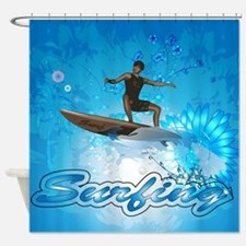 Surf boarders on blue background with flowers Show