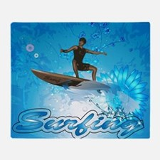 Surf boarders on blue background with flowers Thro
