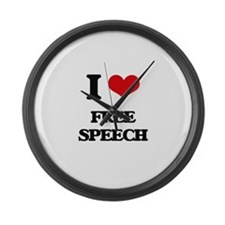 I Love Free Speech Large Wall Clock