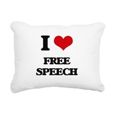 I Love Free Speech Rectangular Canvas Pillow