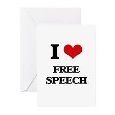 I Love Free Speech Greeting Cards