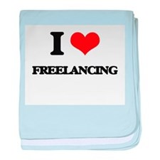 I Love Freelancing baby blanket