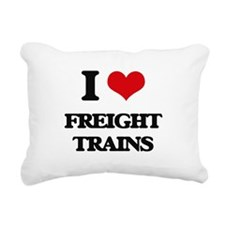 I Love Freight Trains Rectangular Canvas Pillow