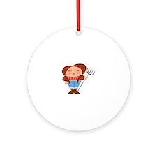Farmer Girl Ornament (Round)