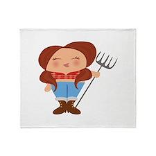 Farmer Girl Throw Blanket
