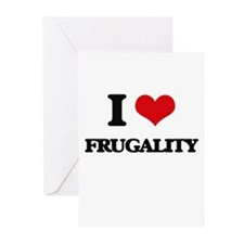 I Love Frugality Greeting Cards