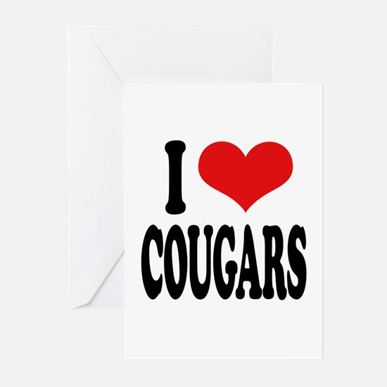 I Love Cougars Greeting Cards (Pk of 10)