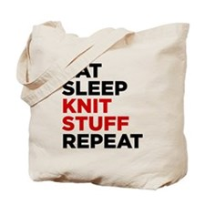 Eat Sleep Knit Stuff Repeat Tote Bag