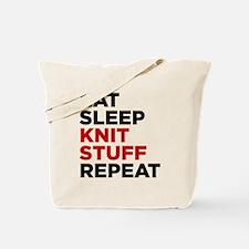 Eat Sleep Knit Stuff Repeat Tote Bag