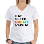 Eat Sleep Create Repeat Women's V-Neck T-Shirt