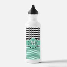 Mint Polka Dots Black Water Bottle