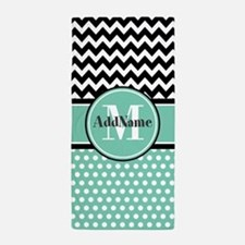 Mint Polka Dots Black Chevron Monogram Beach Towel