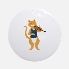 Fiddle Cat Ornament (Round)