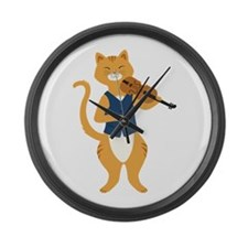 Fiddle Cat Large Wall Clock