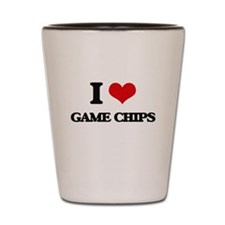 I Love Game Chips Shot Glass
