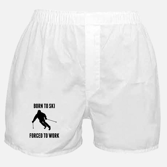 Born To Ski Forced To Work Boxer Shorts