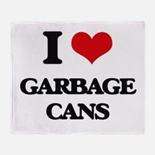 I Love Garbage Cans Throw Blanket