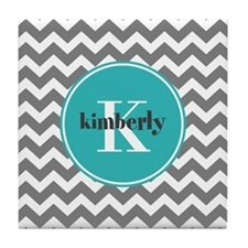 Gray Chevron with Teal Monogram Tile Coaster