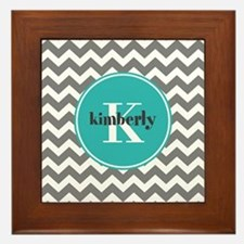 Gray Chevron with Teal Monogram Framed Tile
