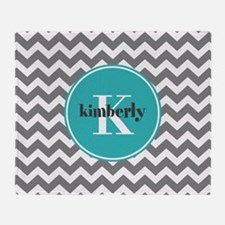 Gray Chevron with Teal Monogram Throw Blanket