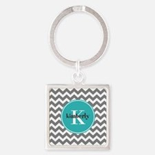 Gray Chevron with Teal Monogram Square Keychain