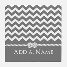 Gray Chevron Custom Name Rope Knot Tile Coaster