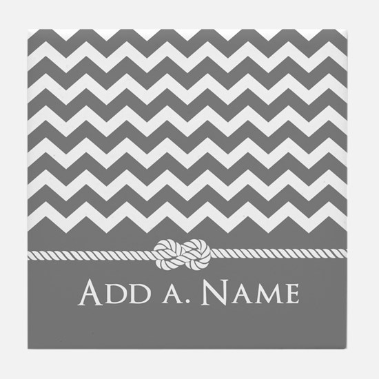 Gray Chevron Custom Name Rope Knot Tile Coaster