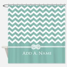 Mint and White Chevron Personalized Shower Curtain