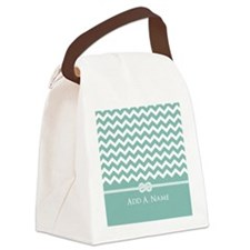 Mint and White Chevron Personaliz Canvas Lunch Bag