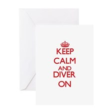 Keep Calm and Diver ON Greeting Cards