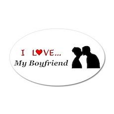 I Love My Boyfriend 35x21 Oval Wall Decal