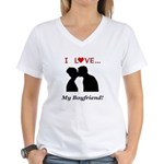 I Love My Boyfriend Women's V-Neck T-Shirt