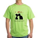 I Love My Boyfriend Green T-Shirt