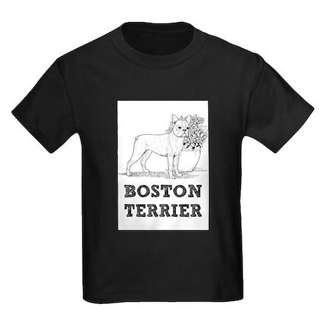 Boston terrier illustration kids dark t shirt boston for Boston rescue 2 t shirt
