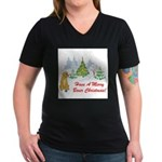FIN-christmas-boxer... Women's V-Neck Dark T-Shirt