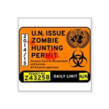 U.n. Issue Zombie Hunting Permit Decal Sticker