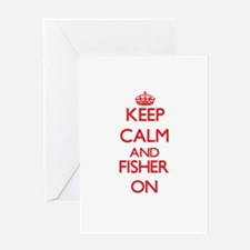 Keep Calm and Fisher ON Greeting Cards