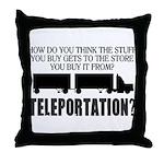 Teleportation Truck Driver Throw Pillow