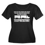 Teleport Women's Plus Size Scoop Neck Dark T-Shirt
