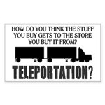 Teleportation Truck Driver Sticker (Rectangle)