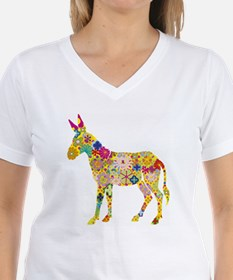 Flower Donkey V-Neck T-Shirt