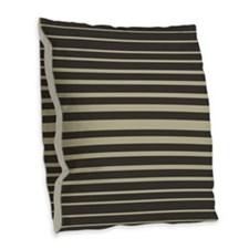 Striped In Black And Tan Burlap Throw Pillow
