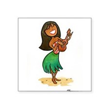"Funny Hula girls Square Sticker 3"" x 3"""