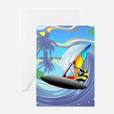 Windsurfer on Ocean Waves Greeting Cards