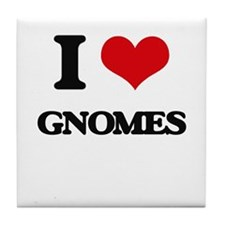 I Love Gnomes Tile Coaster