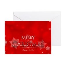 Red Christmas With Snowflakes Greeting Cards