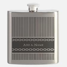 Custom Black and White Stripes Chain Links Flask