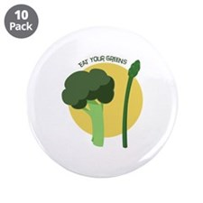 """Eat Your Greens 3.5"""" Button (10 pack)"""