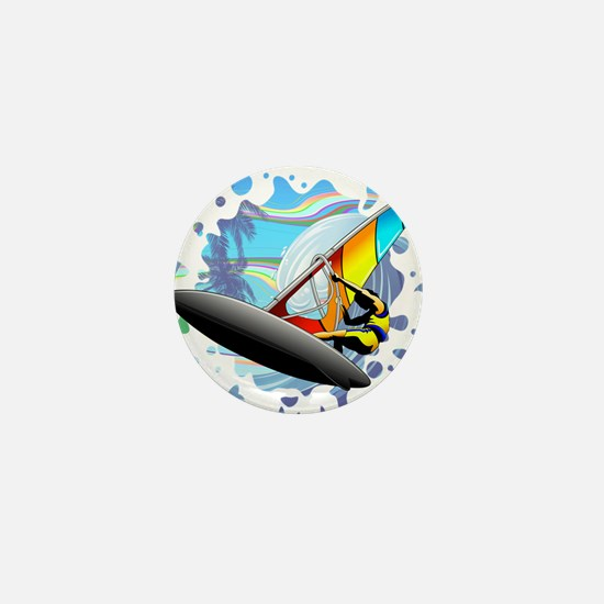 Windsurfer on Ocean Waves Mini Button