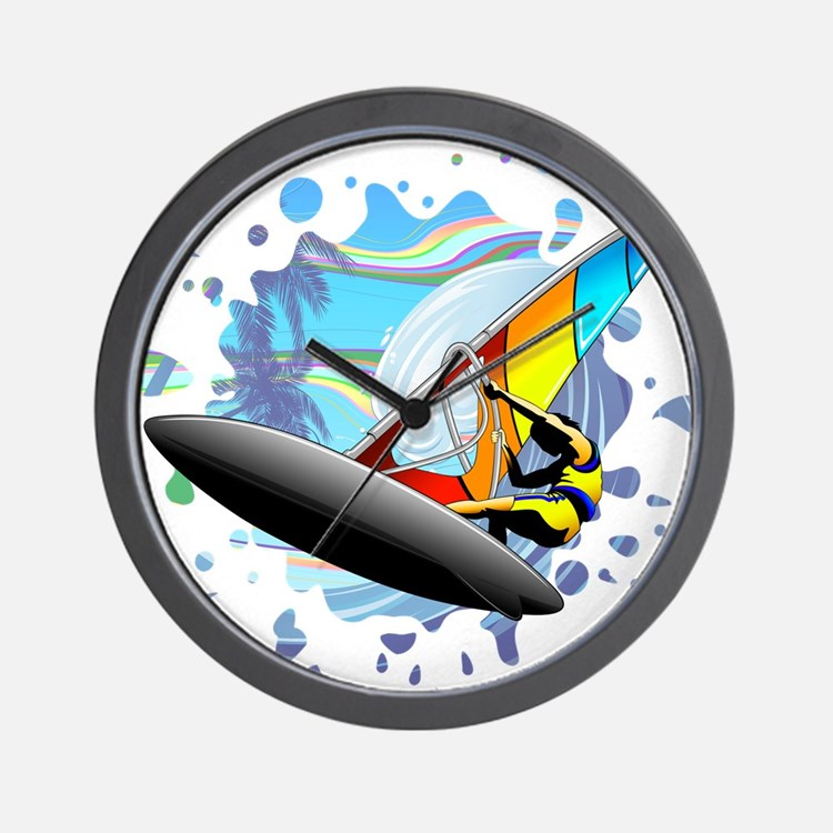 Windsurfer on Ocean Waves Wall Clock